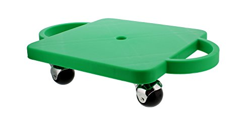"""Get Out! Plastic Scooter Board in Green, Wide Handles, 12"""" x 12"""" Inches – Gym Class Manual Scooter Board for Kids"""
