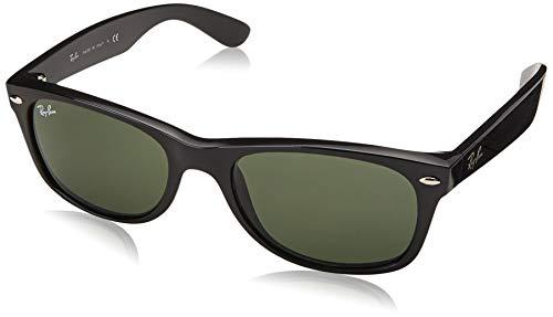 Ray-Ban Herren New Wayfarer Sonnenbrille, Schwarz (Gestell: schwarz,Gläser: grün polarisiert 901/58), Large (Herstellergröße: 58)