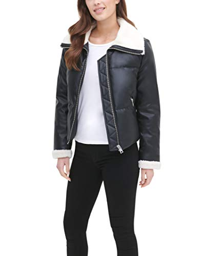 Levi's Women's The Breanna Sherpa Collar Puffer Jacket (Standard and Plus Sizes), Black Faux Leather, Small