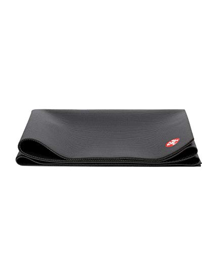 Manduka PRO Travel Yoga Mat 2.5mm Thin, Lightweight, Non-Slip, Non-Toxic, Eco-Friendly - 71 Inch Long, Black. Made with Dense Cushioning for Stability and Support