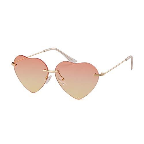 ADEWU Occhiale da spiaggia senza montatura per occhiali da sole a forma di cuore per ragazza donna (Red Yellow new)