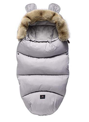 CHRONSTYLE Baby Schlafsack Für Kinderwagen Kutsche Kinderwagen Fußsack Warmer Winter Wickelumschlag Für Neugeborene Baby Kokon (Grau, 100 x 46 cm)