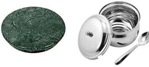 MAMTA CREATIONS Green Marble Chakla and Ghee Pot Combo for Home and Kitchen Pack of 2 Green Chakla Ghee Pot