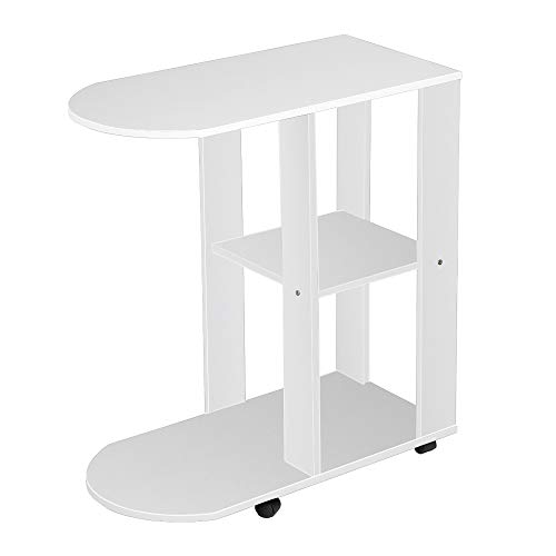 C Shaped Side Table, nozama White Small End Table with 4 Wheels for Sofa Side Coffee Table with Shelf Rolling End Table for Living Room (White)