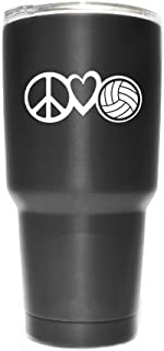Peace Love Volleyball Vinyl Decal Sticker ( 2 Pack!!! ) | Yeti Tumbler Cup Ozark Trail RTIC Orca | Decals Only! Cup not Included! | White | 2 - 4 X 1.7 inch | KCD1815W