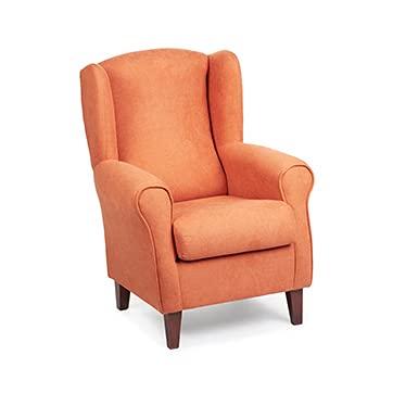 Sillón Orejero pequeño, con Tela Antimanchas, de reducido tamaño para salón o Dormitorio (Tamaño: 100 * 74 * 77 cm) Tapizado en Naranja. Butaca Ideal para Ver la TV, Leer o Lactancia. Gasten a gusto.