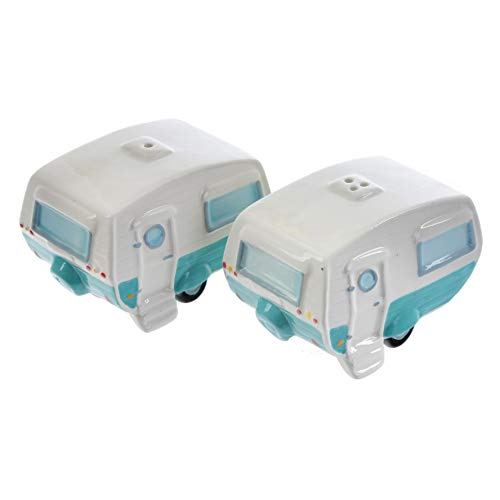 Puckator Salt & Pepper/Condiment/Cruet Set ~ Caravan, Ceramic, Multi, Height Width 9cm Depth 6cm