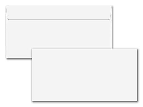 100x Brief-Umschläge DIN Lang - 11 x 22 cm - mit Haftklebung, weiß - 100 g/m² - ohne Fenster