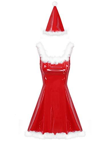 Freebily Weihnachtsfrau Kostüm Sexy Lack Kleid mit Federbesatz Damen Weihnachtskostüm Mini Kleid und Weihanchtsmütze Fasching Karneval Rot M