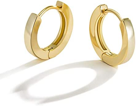 Small Gold Hoop Earrings for Women 14k Real Gold Plated Hypoallergenic Tiny Cartilage Huggie product image