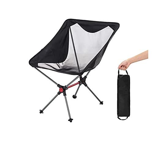 Lwhydzcpjxp. 軽量携帯用折りたたみコンパクトキャンプチェアアルミメッシュビーチピクニック釣りチェア (Color : Black)