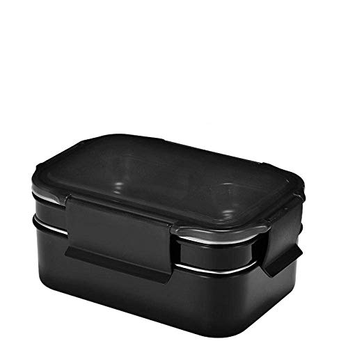 Pkfinrd 304 RVS Lunchbox, draagbaar 2 lagen Bento Box, voor school familie bedrijf keuken voedsel opslag container 20.5X14X9Cm