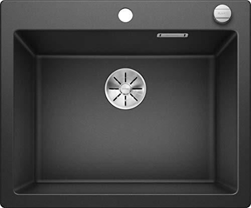 BLANCO Pleon 6, großzügiges Spülbecken, Küchenspüle aus Silgranit PuraDur, Anthrazit-schwarz / mit InFino-Ablaufsystem, inklusive Ablauffernbedienung; 523686