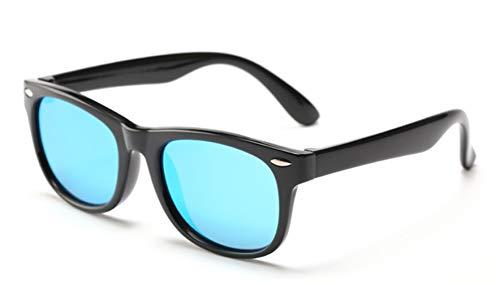 FOURCHEN Occhiali da sole polarizzati per bambini TPEE flessibile in gomma per le ragazze da 3 a 10 anni (black/blue lens)