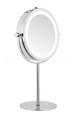 DEUSENFELD SL5CB - Batterie LED Doppel Stand Kosmetikspiegel, 5X Vergrößerung + Normalspiegel, Ø17,5cm, 360° horizontal schwenkbar, 35 SMD Tageslicht LEDs, Hochglanz verchromt