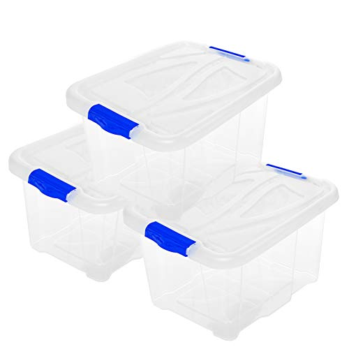 2friends 3er Set Aufbewahrungsbox mit Deckel Transparent 30 Liter, 3 Stück, mit Clip-Deckeln, 26 x 49 x 39 cm, aus Kunststoff, Made in EU