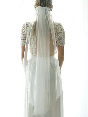 Heread 1 Tier Bride Wedding Veil Fingertip Length Short Bridal Tulle Veils with Comb and Cut Edge (White, 39.4')