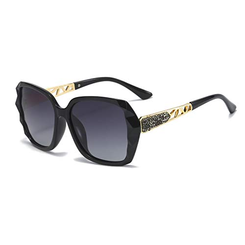 MMOWW Gafas de sol polarizadas para mujer: montura de gran tamaño con brillantes y con protección UV400.