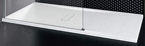 Piatto Doccia Novellini Custom Touch Dimensione 120x90 Spessore 3,5 cm Bianco Morbido (Opaco) Metacrilato Appoggio Filo Pavimento Sagomabile Effetto Pietra Compreso Piletta Scarico e Copri Piletta
