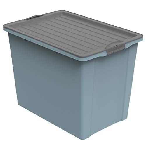 Rotho Eco Compact Aufbewahrungsbox 70l, Kunststoff (recycelt), Blau/Anthrazit, 70 Liter (57 x 39,5 x 43,5 cm)