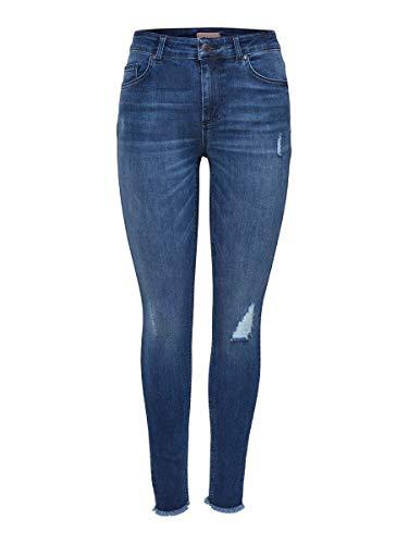 Only Nos Onlblush Mid Ank Raw Jeans Rea2077 Noos, Vaqueros Skinny para Mujer, Azul (Medium Blue Denim), W36 L34 (Talla del fabricante: Small)