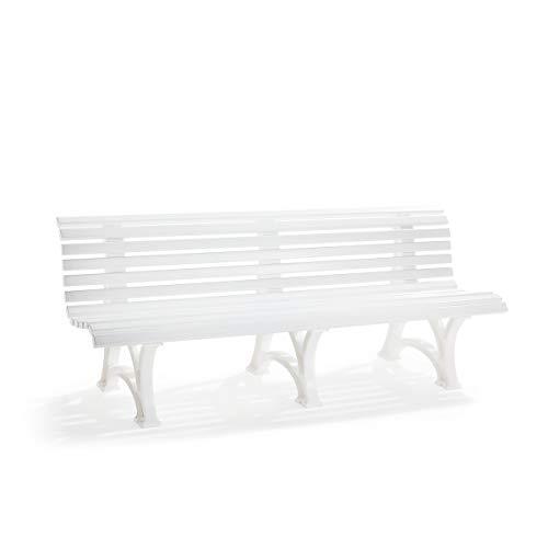 Blome Banc d'extérieur en Plastique Blanc à 13 Lames - Largeur 2000 mm