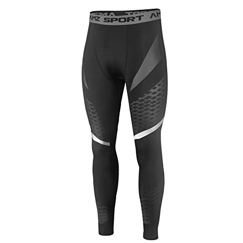 AMZSPORT Mens Sports Compression Leggings Running Training Tights with Mesh Print, Black L