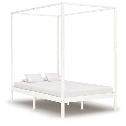 vidaXL Madera Maciza de Pino Estructura de Cama Individual con Dosel Blanco 120x200 cm Somier Muebles de Dormitorio Habitación