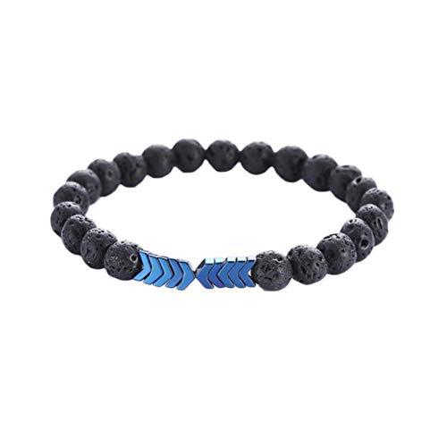 Jespeker Lava Stone Bracelet Rock Bracelet Adjustable Arrow Diffuser Stone Bracelet for Women Men, 8 Colors