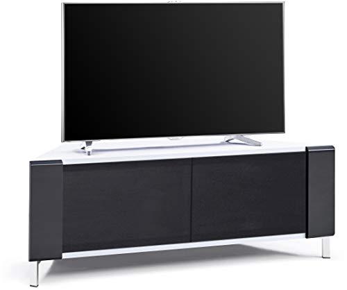 "MDA Designs CORVUS Corner-Friendly Gloss White Contemporary Cabinet with Black Profiles Black BeamThru Glass Doors Suitable for Flat Screen TVs upto 50"""