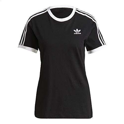 adidas Camiseta para mujer con 3 rayas. Negro 40