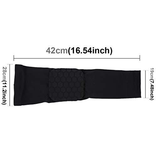 Protect® Ellenbogenbandage, atmungsaktiv, Kompressions-Silikon, Ellenbogenschoner, gepolstert, für Skateboarding, Basketball, Fußball, XL (schwarz), Schwarz