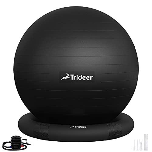 Trideer バランスボール(リング付)55/65㎝ 耐荷重500㎏ 厚い アンチバースト 滑り止め フィットネス ヨガ 椅子 ジム/ホーム/オフィスなどに適用 (ブラック(リング付き),65 cm(高さ165-180cm に適応))