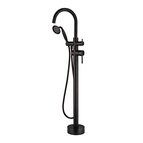 Wowkk Tub Filler Freestanding Bathtub Faucet Oil Rubbed Bronze Floor Mounted Brass Bathroom Tub Faucets with Hand Shower