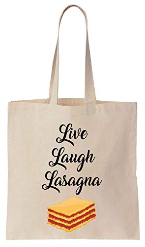 Finest Prints Live Laugh Lasagna Delicious Lasagna Sac fourre-tout en toile de coton Motif lasagna