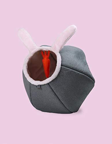 United Pets Cat Cave Bunny Palla Gioco Cuccia di Design, Divertente Gioco con Carota Peluche, Morbida Cuccia per Gatti, Grigio