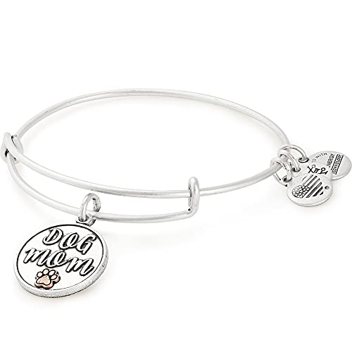 Alex and Ani Expandable Wire Bangle Bracelet for Women, Dog Mom Charm, Rafaelian Silver Finish, 2 to 3.5 in
