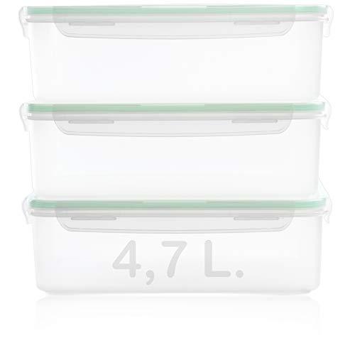 Hausfelder recipientes alimentos vacio comida XL grandes depósitos de almacenamiento - Hermético, resisuente al agua y libre de BPA - grandes latas de almacenamiento