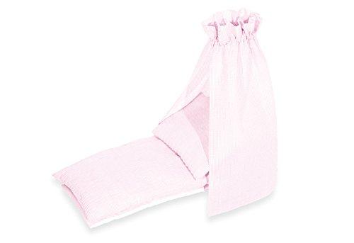 Pinolino Puppenbettzeug Vichy-Karo, 4-tlg., mit Matratze, Bettdecke, Kopfkissen und Himmel, waschbar, Bezug 100 % Baumwolle, für Mädchen ab 1 J., rosa
