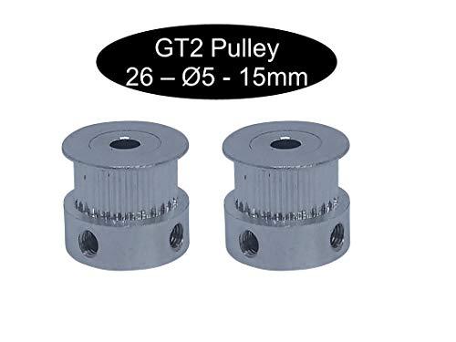 2 X GT2 mit 15mm Breite 26 Zahn Riemenscheibe Pulley (GT2 26Z Ø5mm)