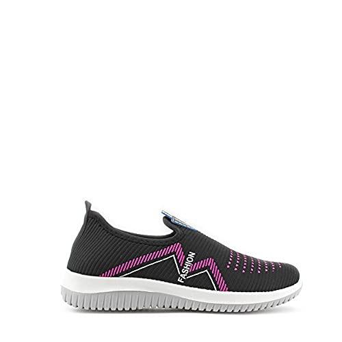 Modelisa - Zapatillas Deportivas Sin Cordones Planos Cómodo Casual para Mujer (Negro/2, Numeric_39)