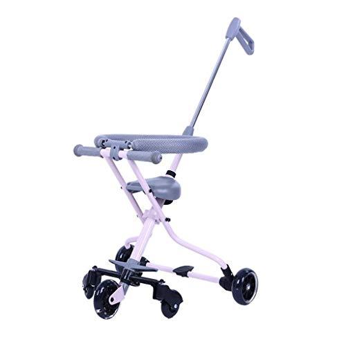 HJJ Baby-Spaziergänger/Schiebe-Baby-Artifact Leicht tragbare Falten Kinder Dreirad Gehen Puppe Reisen Baby-Aluminium Trolley mit Bremse/Kindersicherheitssitz