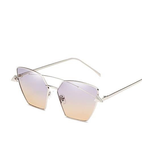 Mode onregelmatige uv gradiënt zonnebril voor dames heren helder montuur metalen optische klassieke dames brillen glazen pijl decoratie blauw