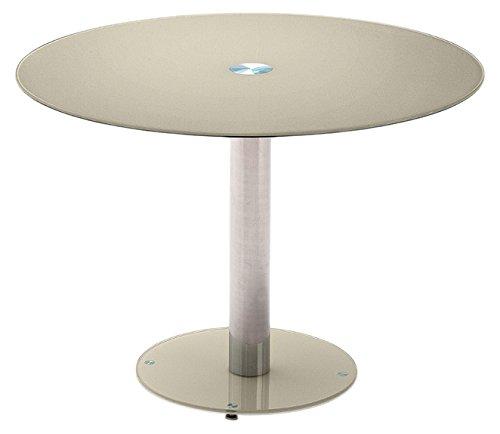 Robas Lund FALKO Table Salle à Manger, Métal chromé, Taupe, 100 x 100 x 77 cm