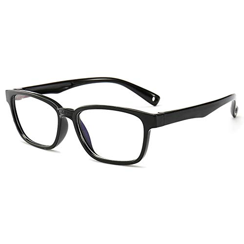 VEVESMUNDO Kinder Brillen Ohne Stärke Brillenfassung Blaulichtfilter Computerbrille Anti Müdigkeit Silikon Rechteckig Brillenrahmen Brillengestell mit Etui Für Mädchen Jungen Teenager, Schwarz, L