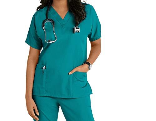 Krankenschwestern, Kosmetikerin, Tierarzt-Tuniken, Uniform für Krankenschwestern, Größe S - 3XL Gr. M, blaugrün