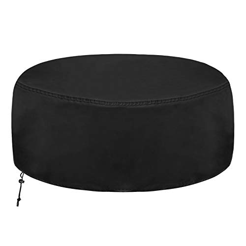 Fire Pit Cover Round Firepit Cover, Waterproof Dustproof Heavy Duty Garden Fire Pit Cover, Round Patio Firepit Bowl Cover for Stove (122 x 46cm, Black)