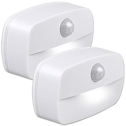 Pasillo luz de noche ,[2 unidades] luz nocturna LED con sensor de movimiento para dormitorio, Luces que Funcionan con Pilas, Adecuada para Dormitorio ,Baño ,Inodoro ,Escaleras ,Cocina ,Pasillo