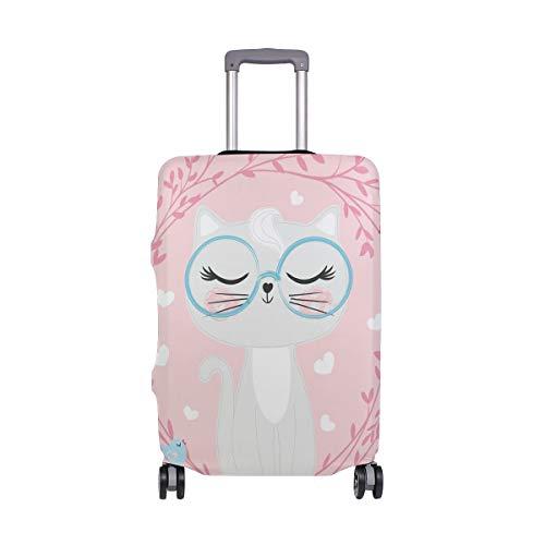 Orediy - Funda elástica para Maleta de Viaje, diseño de Gato con Flores, tamaño S, M, L, XL, Multicolor (Multicolor) - suitcasecover