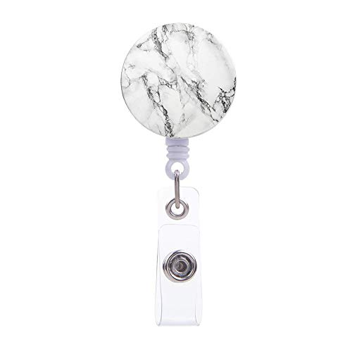 White Marble Design Badge Clip,Retractable Badge Holder ID Card Holder Reel with Alligator Clip,Decorative Name Badge Reel Fit for Man,Women, Nurse, Teacher, Student, Volunteer